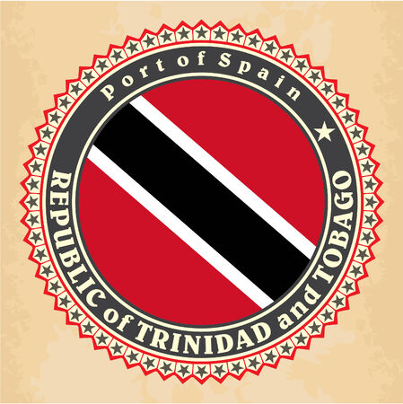 port of spain: Vintage label cards of Trinidad and Tobago flag. Vector