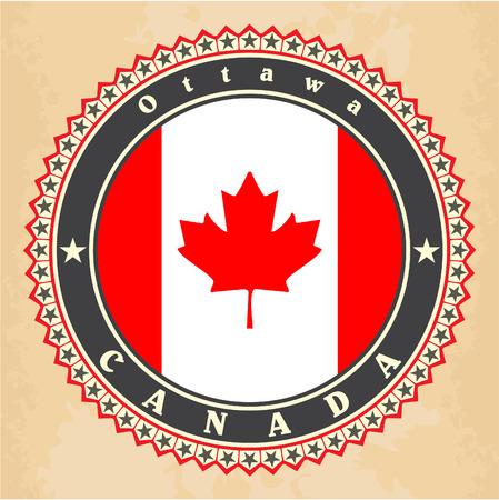 Vintage label cards of Canada flag. Vector Vector