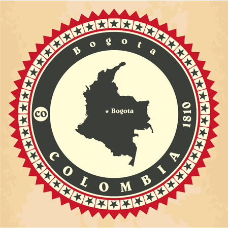 Vintage label-sticker cards of Colombia Vector