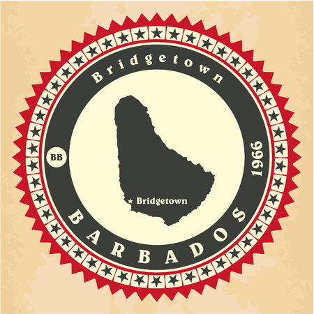 Vintage label-sticker cards of Barbados Vector
