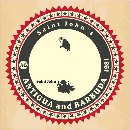 antigua: Vintage label-sticker cards of Antigua and Barbuda Illustration