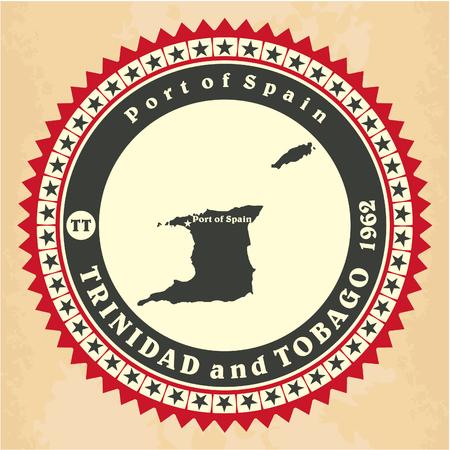port of spain: Vintage label-sticker cards of Trinidad and Tobago
