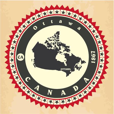 Vintage label-sticker cards of Canada Vector