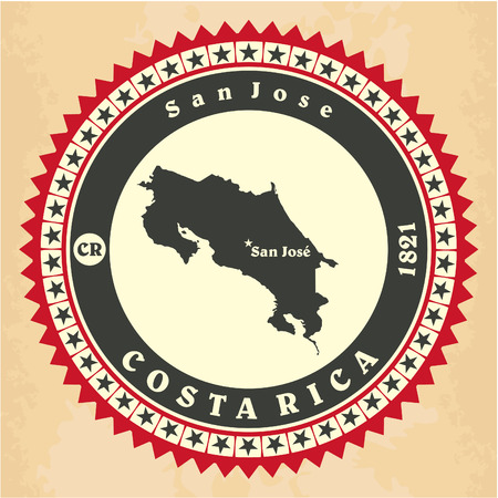 Vintage label-sticker cards of Costa Rica Illustration