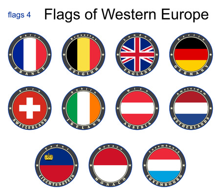 Flags of Western Europe Vector