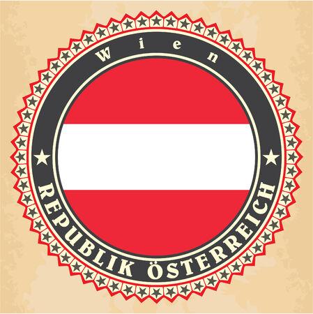 Vintage label cards of Austria flag Vector