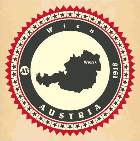 Vintage label-sticker cards of Austria. Vector illustration Vector