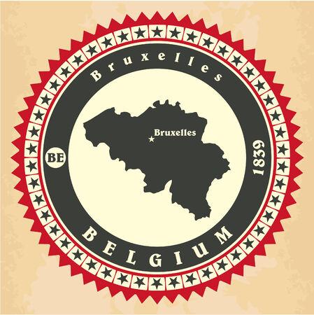Vintage label-sticker cards of Belgium Vector