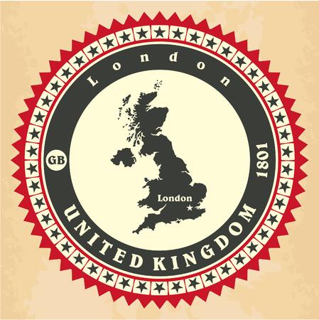 Vintage label-sticker cards of United Kingdom