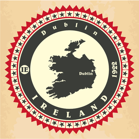 Vintage label-sticker cards of Ireland Vector
