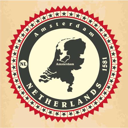 Vintage label-sticker cards of Netherlands. Vector illustration Vector
