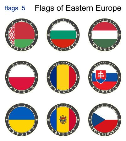 kelet európa: Flags of Eastern Europe. Zászlók 5. Vector.