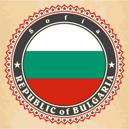 kelet európa: Veterán védjeggyel ellátott kártyák Bulgária zászló. Vektor Illusztráció