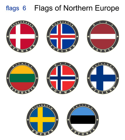 Flags of North Europe. Flags 6. Vector.