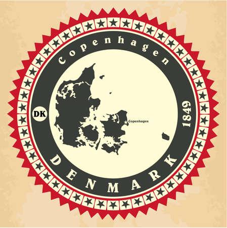 Vintage label-sticker cards of Denmark. Vector illustration Vector