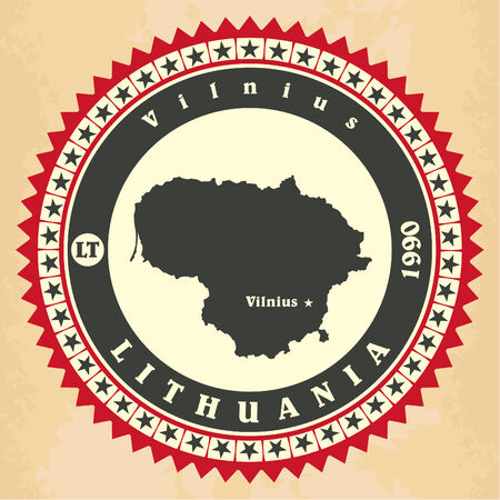Vintage label-sticker cards of Lithuania. Vector illustration Vector