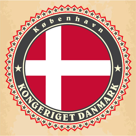 Vintage label cards of Denmark flag. Vector Vector