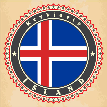 Vintage label cards of  Iceland flag. Vector Vector