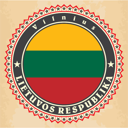 Vintage label cards of  Lithuania flag. Vector Vector