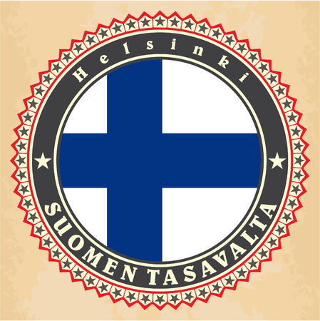 Vintage label cards of  Finland flag. Vector Vector