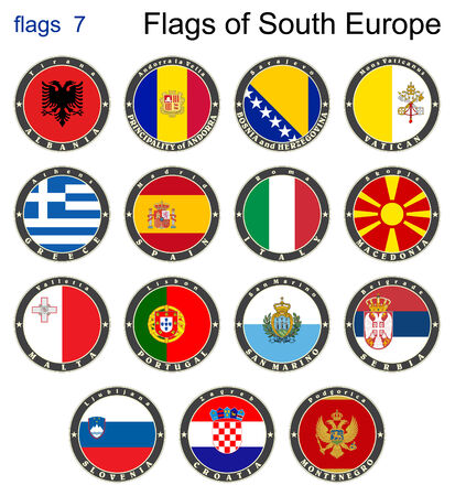 Flags of South Europe. Flags 7. Vector. Vector