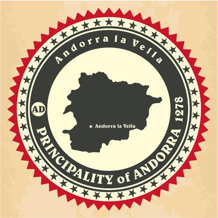 andorra: Vintage label-sticker cards of Principality of Andorra. Vector illustration