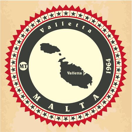 valletta: Vintage label-sticker cards of Malta. Vector illustration