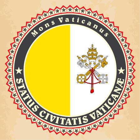 Vintage label cards of  Vatican City flag. Vector