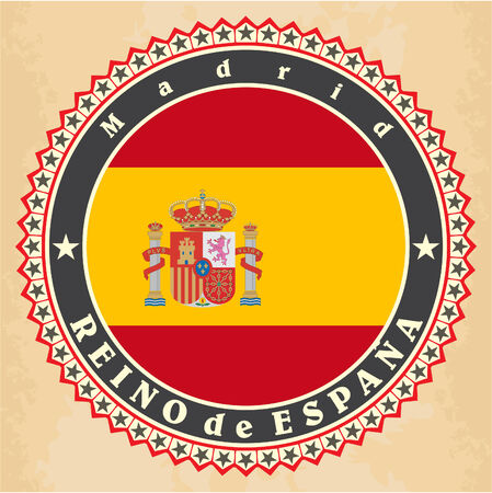 Vintage label cards of  Spain flag. Vector Vector