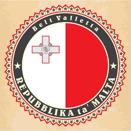 maltese map: Vintage label cards of  Malta flag. Vector Illustration