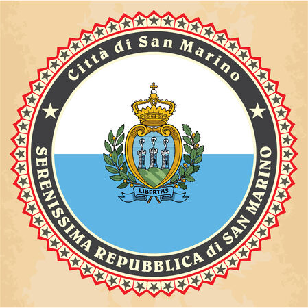 marino: Vintage label cards of  San Marino flag. Vector