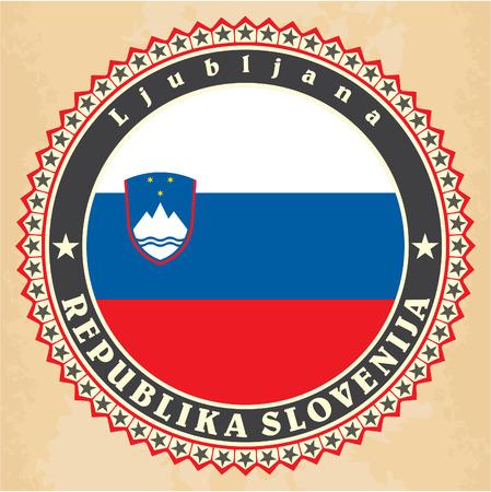 Vintage label cards of  Slovenia flag. Vector Illustration
