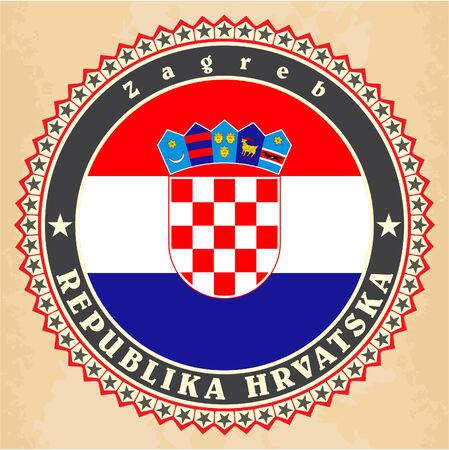 bandiera croazia: Carte di etichetta dell'annata della Croazia bandiera. Vettore