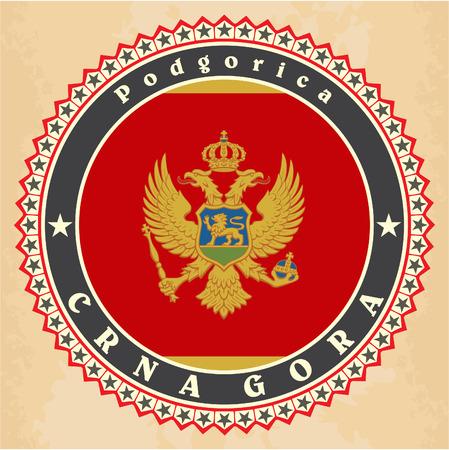 Vintage label cards of  Montenegro flag. Vector