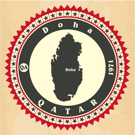 western asia: Vintage label-sticker cards of Qatar.