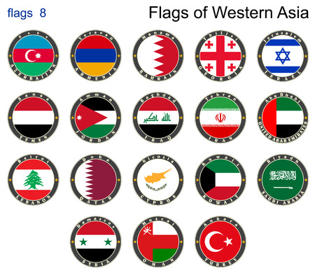 western asia: Flags of Western Asia.  Illustration
