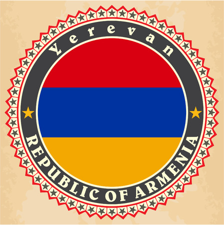 western asia: Vintage label cards of  Armenia flag.