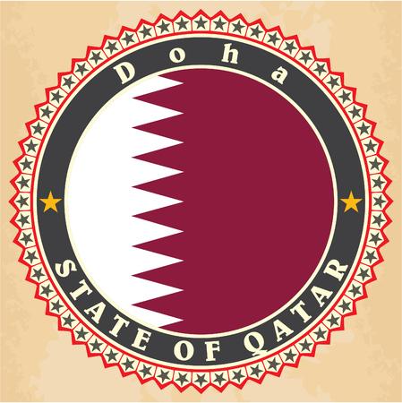 western asia: Vintage label cards of  Qatar flag.