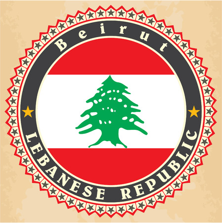 Vintage label cards of  Lebanon flag.  Vector