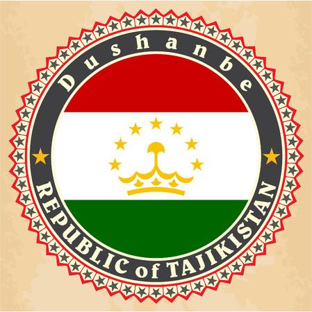 Vintage label cards of Tajikistan flag Vector