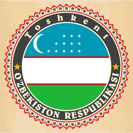oezbekistan: Vintage label kaarten van Oezbekistan vlag