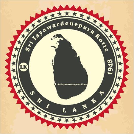 sri: Vintage label-sticker cards of Sri Lanka Illustration
