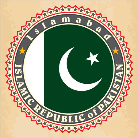 pakistani: Vintage label cards of Pakistan flag Illustration