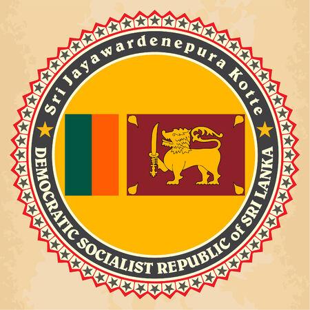 Vintage label cards of Sri Lanka flag Vector