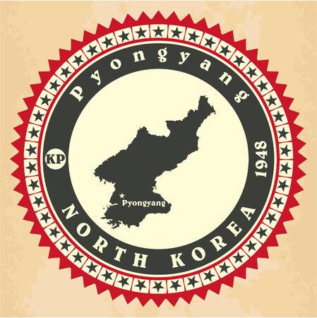 Vintage label-sticker cards of North Korea Vector