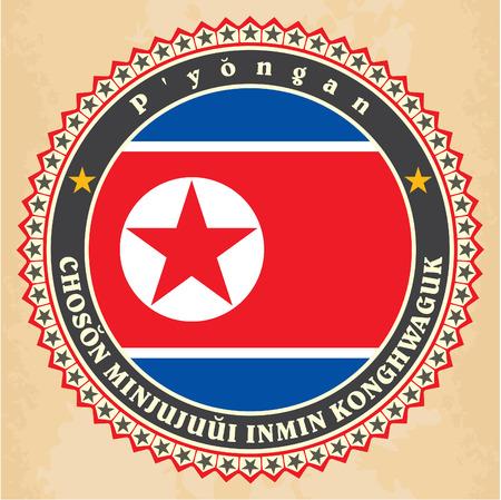 pyongyang: Vintage label cards of North Korea flag. Vector illustration