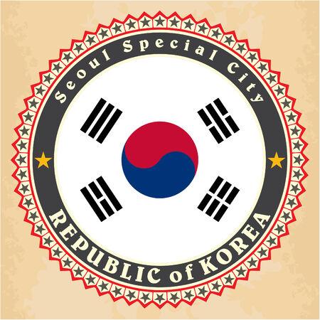 Vintage label cards of South Korea flag Vector