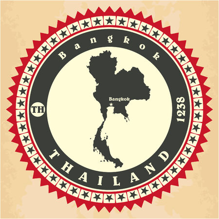 thailander: Vintage label-sticker cards of Thailand. Vector illustration Illustration