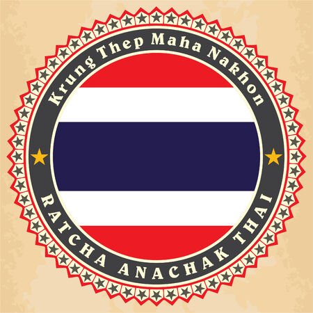Vintage label cards of Thailand flag. Vector illustration Illustration