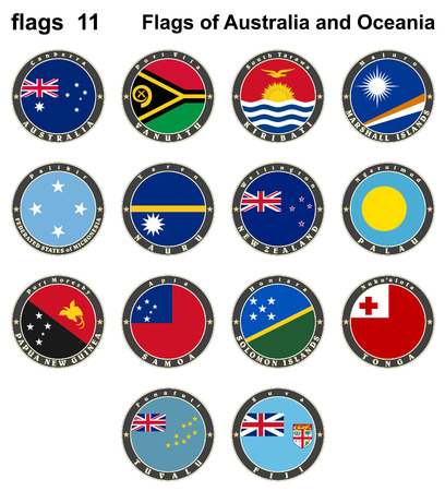 Flags of Australia and Oceania. Flags 11. Vector illustration Vector